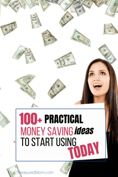 woman with money raining down for 100 saving money ideas