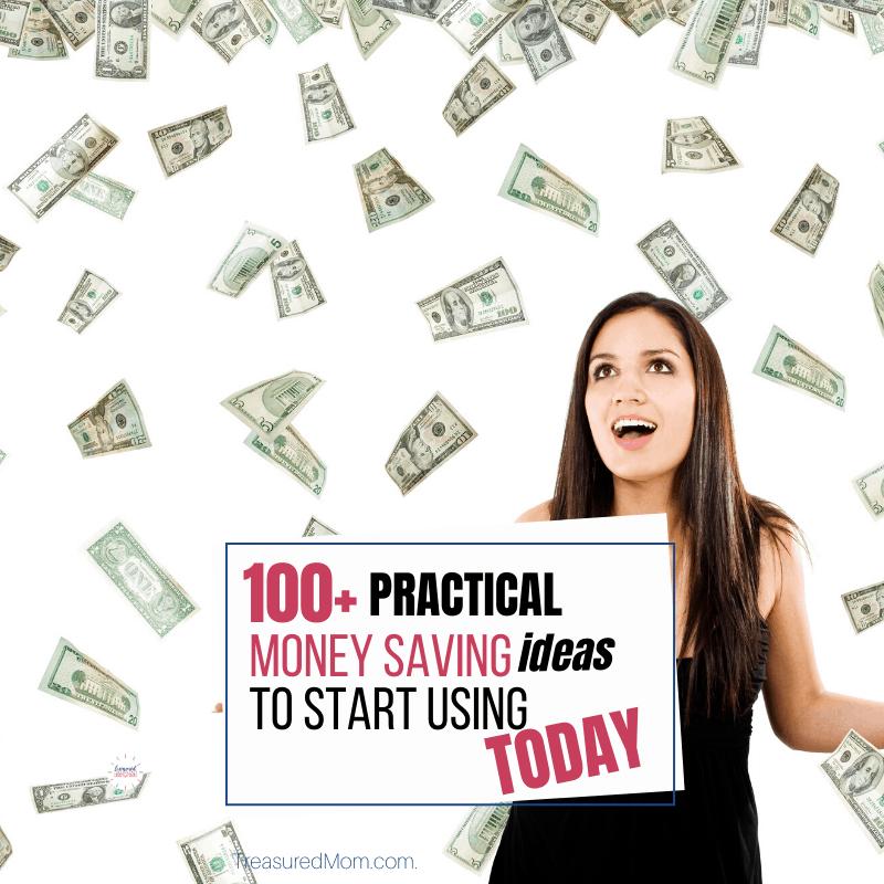 woman with money raining down for 100 saving money ideas
