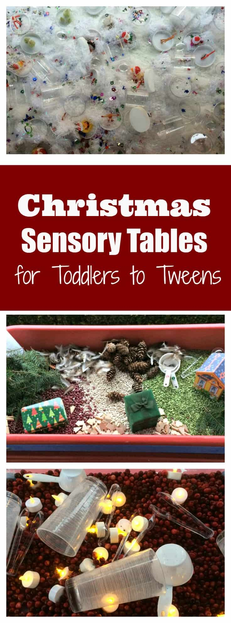 These 4 Christmas Sensory Tables will provide hours of fun for kids of all ages. Be sure to add them to your next holiday party.