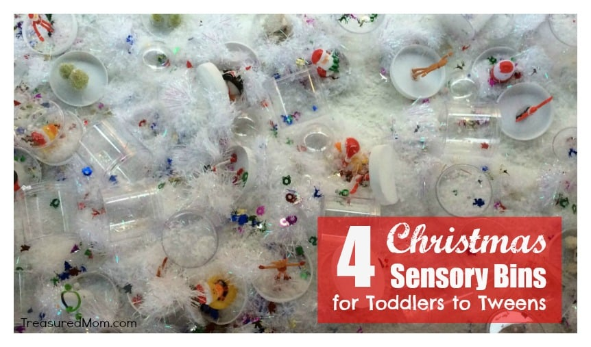 These 4 Christmas Sensory Tables are so much fun! They'll provide hours of fun for kids from toddlers to tweens.
