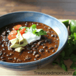 This Instant Pot Black Bean Soup is so delicious and fast. It only uses 5 ingredients and chorizo is one of them! You have got to try it out.