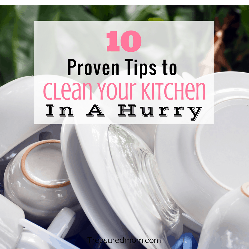 Proven tips to help you clean your kitchen in a hurry. Doing these things will get you out of the kitchen fast.