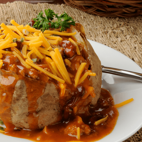 Chili on Instant Pot Baked Potato