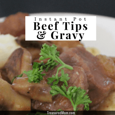 Instant Pot Beef Tips and Gravy on plate with mashed potatoes and zucchini