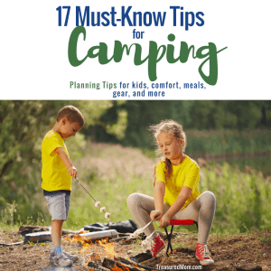 Kids roasting marshmallows over a fire for 17 Camping Essentials post