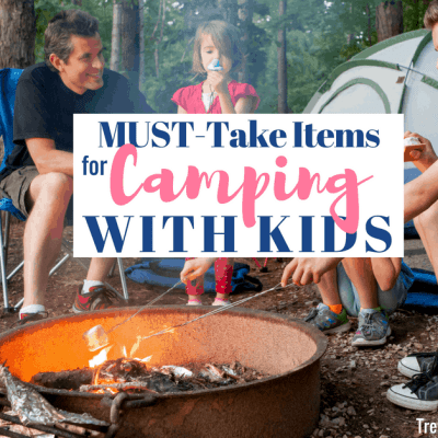 Kids and dad roasting marshmallows over campfire for camping with kids post