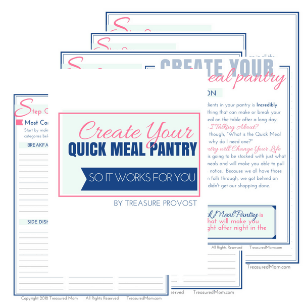 Create Your Quick Meal Pantry Cluster image for printable ebook