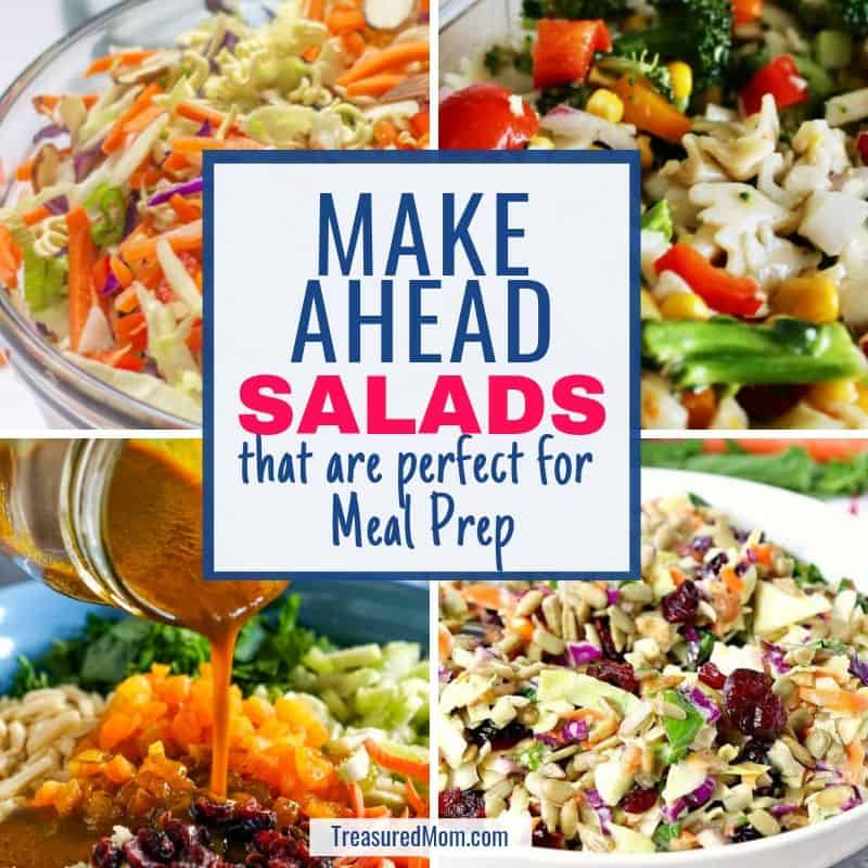 couscous salad, crunchy sunflower salad, ramen salad, broccoli salad for make ahead salads meal prep