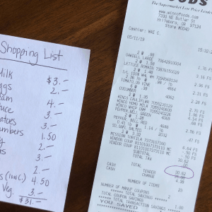 shopping list and receipt for No Spend Pantry Challenge Save Money
