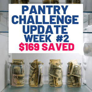 money in fridge for no spend pantry challenge to save money