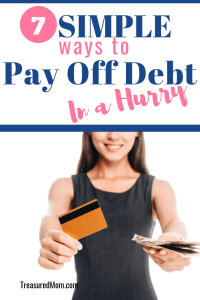 woman with credit cards for 7 simple ways to pay off debt quickly