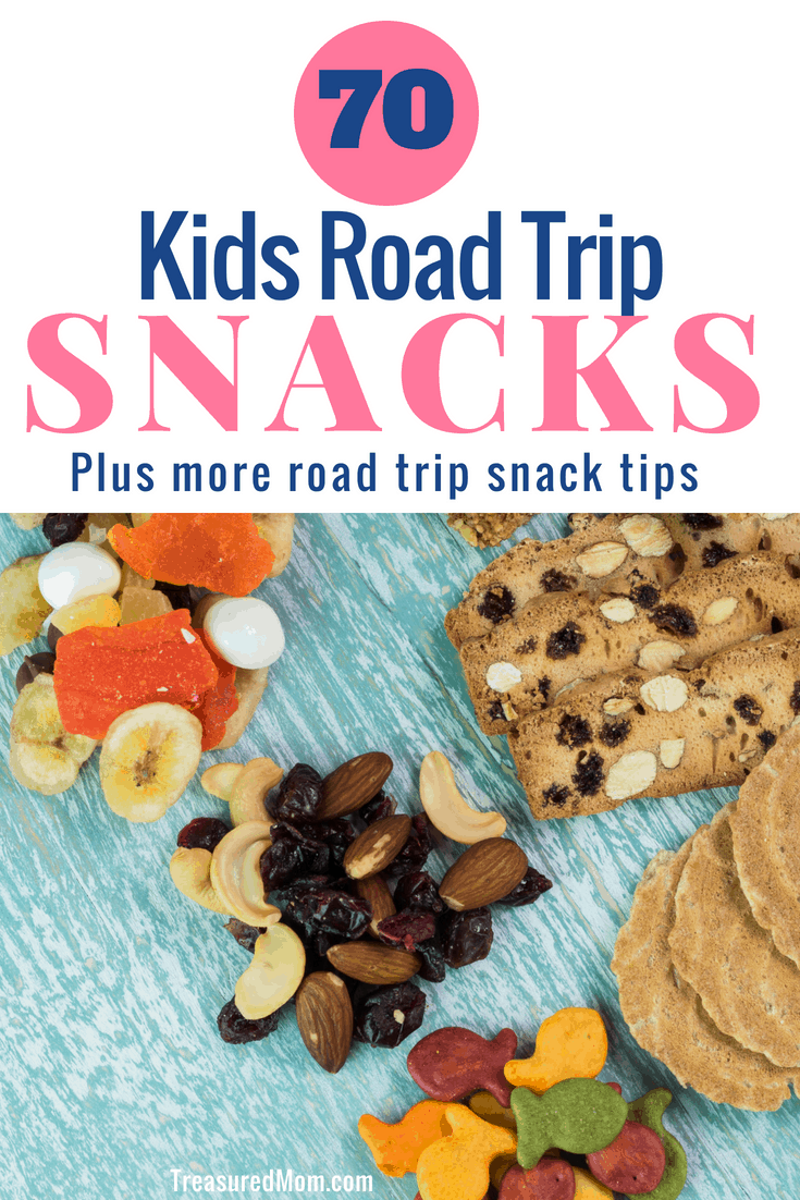 You need some great road trip snacks for kids if you're going to survive any long car trip!You don't have to worry about making everything healthy, pack some fun junk food travel snacks while you're at it. Some travel food is fun to DIY or take it easy and buy treats for your cooler. Either way, there's lots of ideas here. #roadtrip #travelsnacks #travelwithkids #snackideas #longcartrip #roadtripsnacks #treasuredmom