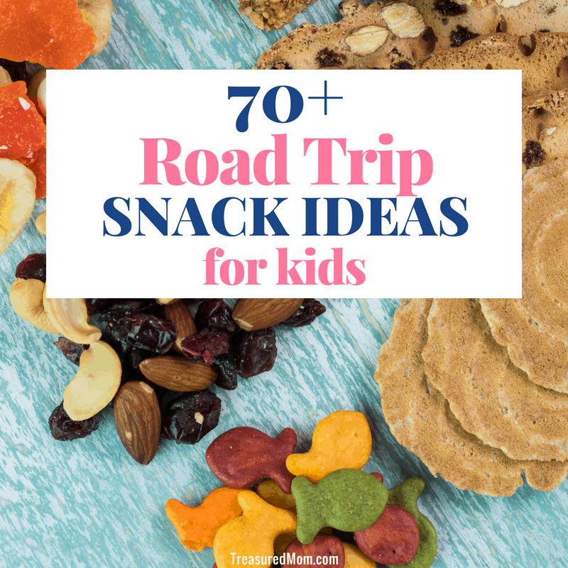 trail mix, goldfish crackers, cookies for road trip snacks for kids post