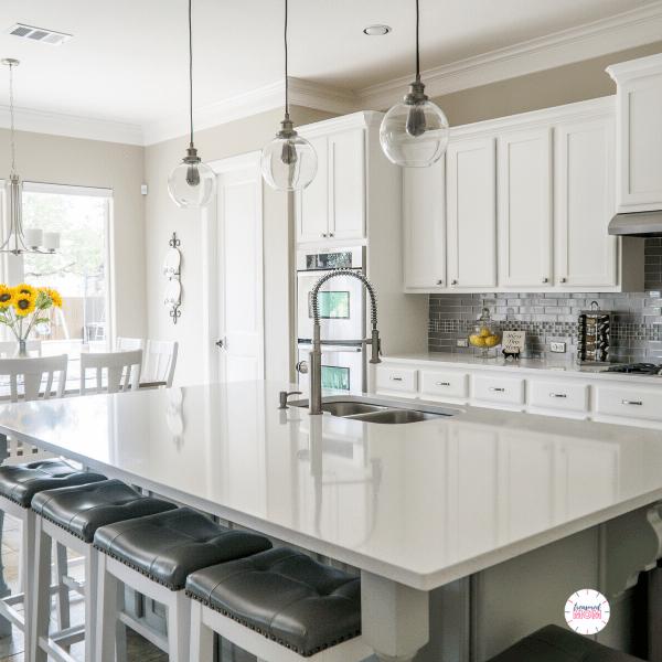white kitchen island for Over 100 Ways to Save Money - Kitchen