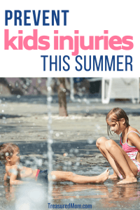 boy and girl playing in water fountain from Summer safety tips for kids article