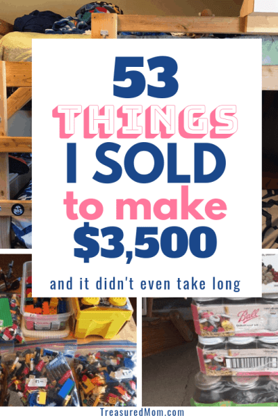 bunk bed, legos, canning jars, things to sell to make money