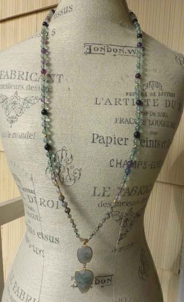 Moon Stone & Labradorite Beaded Necklace