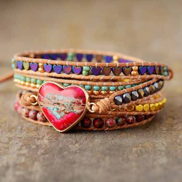 Heart Charm Leather Wrap Bracelet