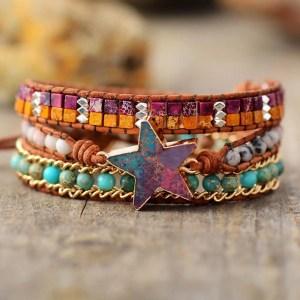 Star Charm Leather Wrap Bracelet