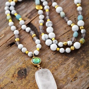 Moon Crystal Stone Pendant Beaded Necklace