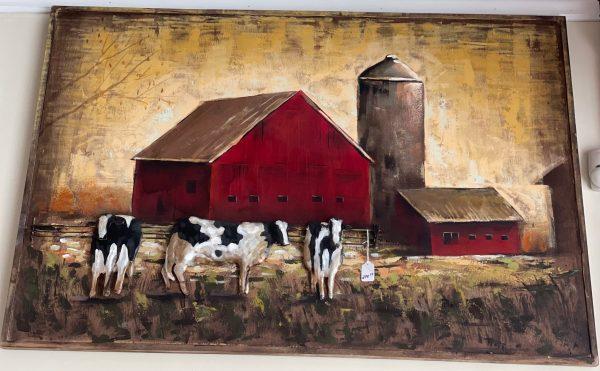 Art print of red barn