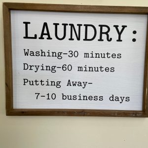 White Laundry Sign