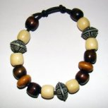 Bracelet     Size   Medium/Adult Female   3.5 in to 4 in Made with Leather Cord, 14 Wood Beads and 3 Plastic Beads Price: $5.00