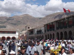 Plaza Mayor with the Mountains of Ayacucho in the distance.
