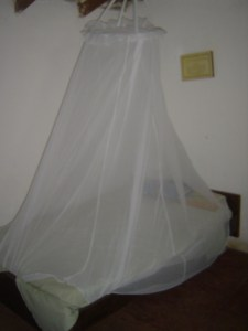 Mosquito net covering my bed so not to get bitten in the night!