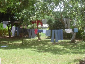 Drying our laundry after washing it.