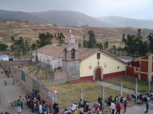 Gathering in front of the church in Socos, Peru.