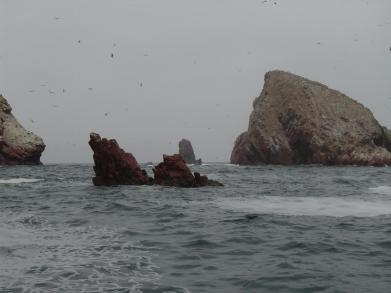 Some of the many rock formations of the Ballestas Islands in Peru.