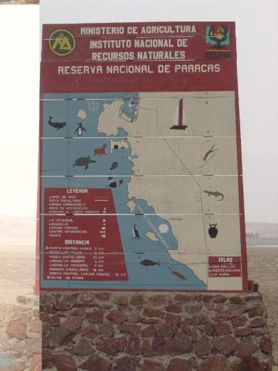 The Paracas National Reserve map at the entrance of the park in Peru!