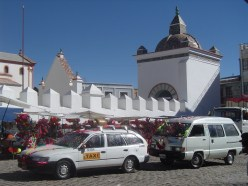 The blessing of cars is an everyday occurrence in Copacabana in front of the Basilica de Nuestra Señora de Copacabana
