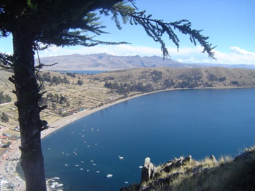 A view of Copacabana below from the top of Cerro Calvario overlooking the city and Lake Titicaca.