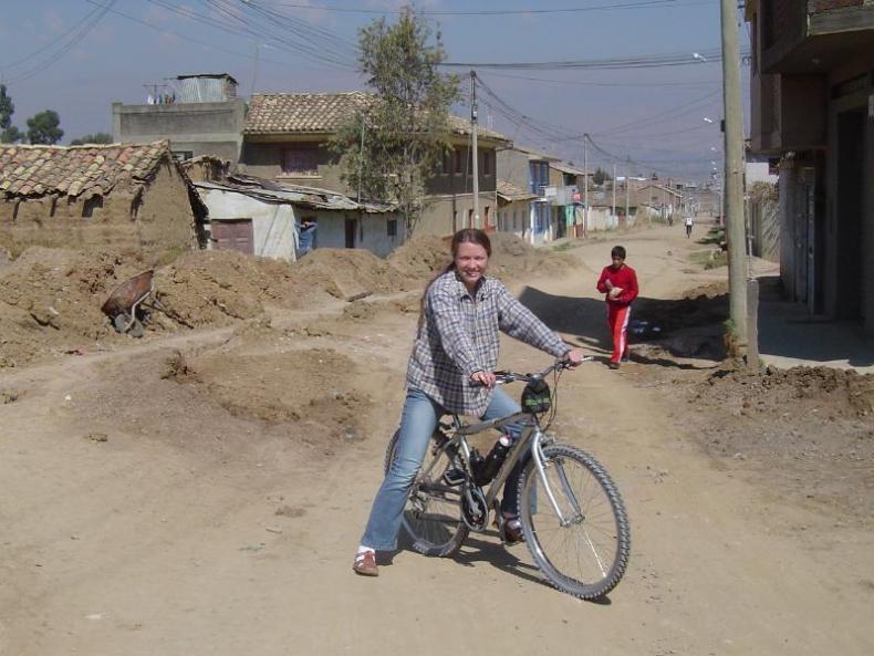 My friend Joni showing me around Huancayo on bikes!