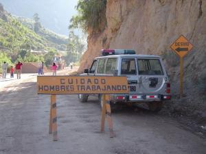 We had to stop for construction along the road from Ayacucho to Huancayo.