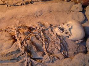 One of the mummies found at Huaca Huallamarca Adobe Pyramid in the San Isidro district of Lima, Peru.