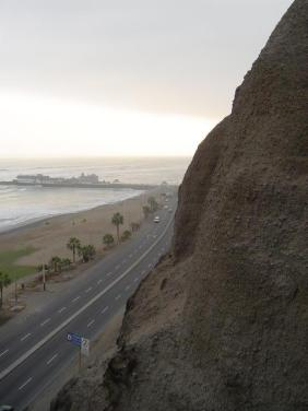 Looking out from the Miraflores Boardwalk cliffs or what is called the malecón in Spanish to the Pacific Ocean below.