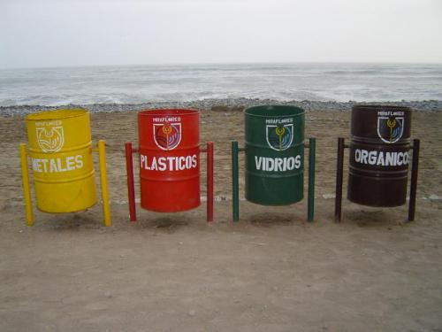 Peruvians recycling along the beach of the Pacific Ocean!