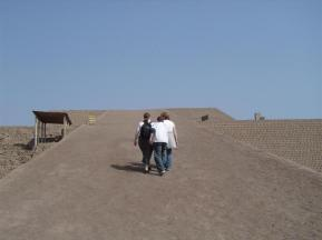 Walking up to the top of the Adobe Pyramid of Huaca Huallamarca in San Isidro district of Lima, Peru.