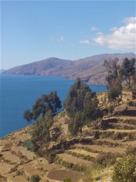 A view of Lake Titicaca from Isla del Sol with terrace farming.