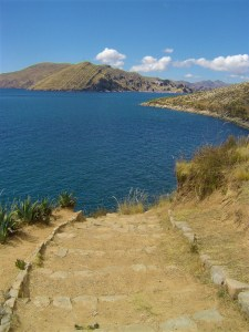 A view of Lake Titicaca from Isla del Sol along the steps of one of the trails.