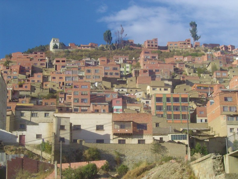 Houses built on the hillside of La Paz, Bolivia.