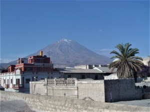 Rooftop view of the volcano El Misti.