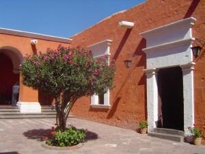 The bright orange colors of the Santa Catalina Monastery.