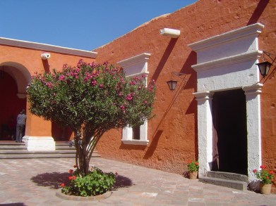 The bright orange colors of the Santa Catalina Monastery.
