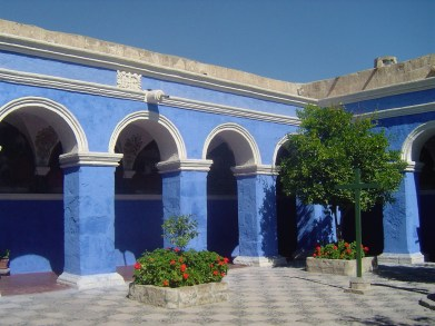 The bright blue colors of the Santa Catalina Monastery.