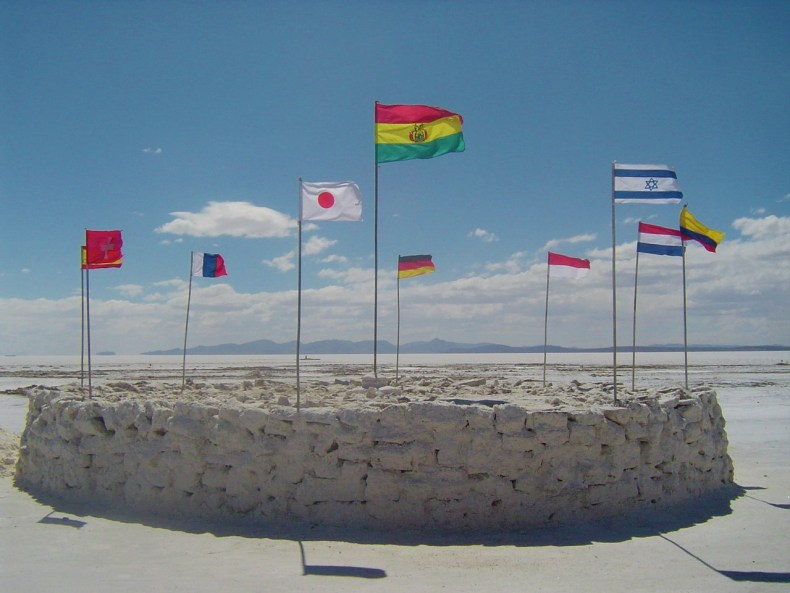 These different country flags from all over the world showcase the large number of people who visit the Uyuni Salt Flats.