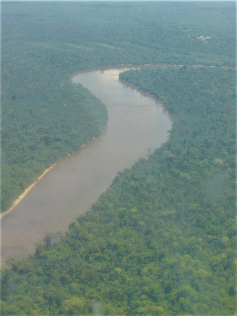 View of one of the rivers that feeds into the Amazon River as we fly over the Amazon Rainforest in Peru.